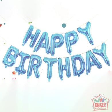 Happy Birthday Set - Blue Foil Air-Filled - 16-inch