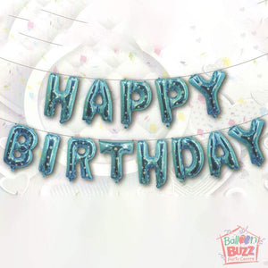 Happy Birthday Set - Blue Stars Foil Air-Filled - 16-inch