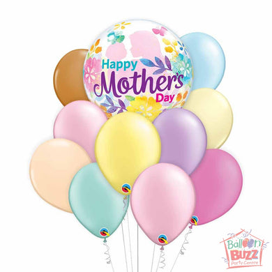 Mother's Day Bubble Silhouette 22-inch Helium-Filled Foil + 10 Pastel Helium-Filled Latex