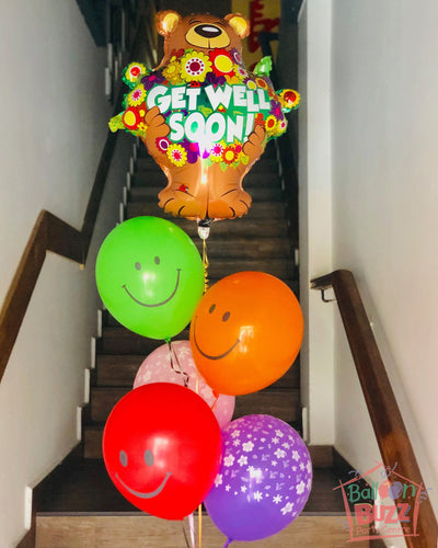 Get Well Soon Foil and Latex Balloon Bouquet
