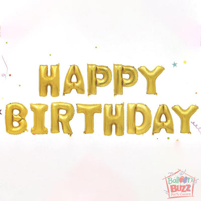 Happy Birthday Set - Gold Foil Air-Filled - 16-inch