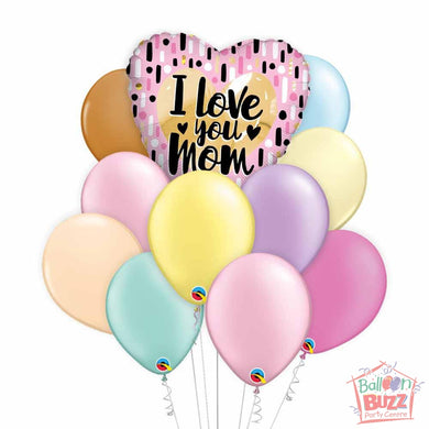 Pink and Gold Heart Mother's Day 18-inch Helium-Filled Foil + 10 Pastel Helium-Filled Latex