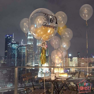 Anniversary 24-inch Bubble Balloon With Personalized Message And Mini Balloons + 10 Helium-Filled Latex Balloons