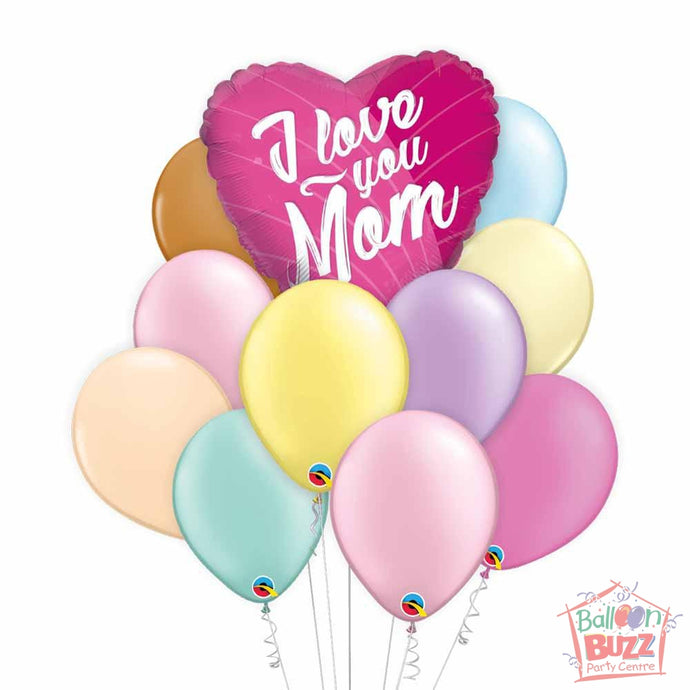 I Love You Pink Mother's Day 18-inch Helium-Filled Foil + 10 Pastel Helium-Filled Latex