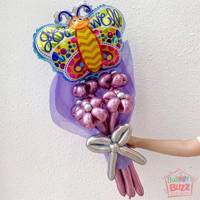 18-inch Get Well Soon Butterfly with Chrome Balloon Flower Bouquet