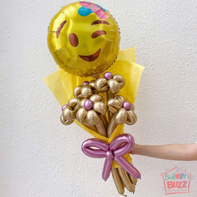 18-inch Get Well Soon Emoji with Chrome Balloon Flower Bouquet