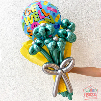 18-inch Get Well Soon Plaster with Chrome Balloon Flower Bouquet