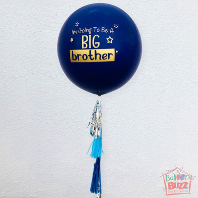 36-inch Personalized Blue Balloon With Trimmings
