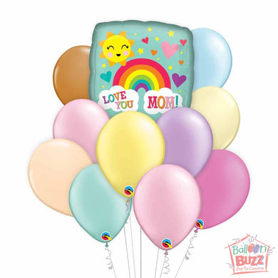 Love You Rainbow Mother's Day 17-inch Helium-Filled Foil + 10 Pastel Helium-Filled Latex