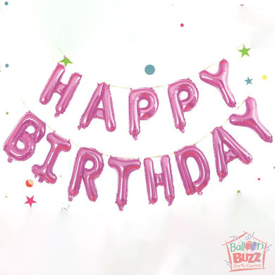 Happy Birthday Set - Magenta Foil Air-Filled - 16-inch