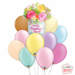 World's Sweetest Mum 18-inch Helium-Filled Foil + 10 Pastel Helium-Filled Latex