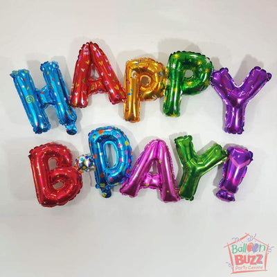 Happy Birthday Set - Multicolor Foil Air-Filled - 16-inch