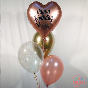 18-inch Heart Shaped Foil With Personalized Message + 3 Helium-Filled Latex Balloons