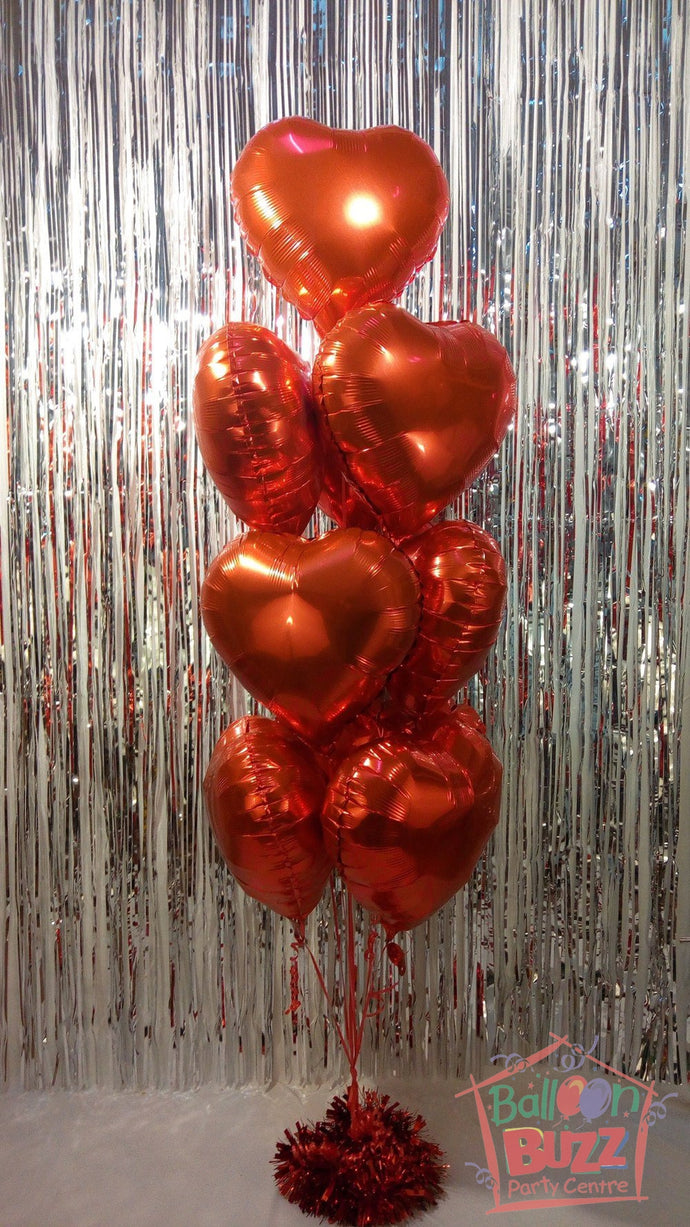 Bouquet of 9 Heart-Shaped Helium-Filled Foil Balloons