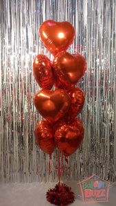 Customized Words on Bouquet of 10 Heart-Shaped Helium-Filled Foil Balloons