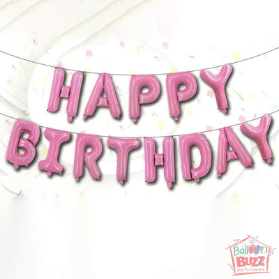 Happy Birthday Set - Pink Foil Air-Filled - 16-inch