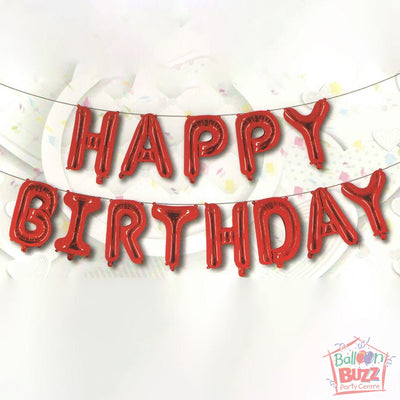 Happy Birthday Set - Red Foil Air-Filled - 16-inch