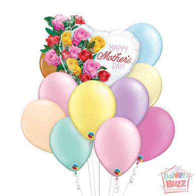 Rose Bouquet Mother's Day 35-inch Helium-Filled Foil + 10 Pastel Helium-Filled Latex