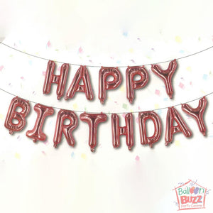Happy Birthday Set - Rose Gold Foil Air-Filled - 16-inch
