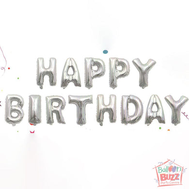 Happy Birthday Set - Silver Foil Air-Filled - 16-inch