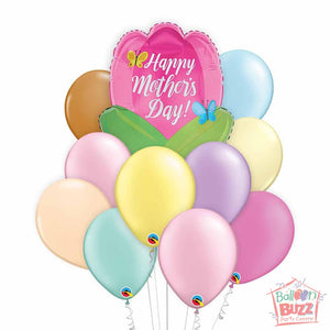 Tulip Shape Mother's Day 18-inch Helium-Filled Foil + 10 Pastel Helium-Filled Latex