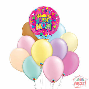 World's Best Mom 18-inch Helium-Filled Foil + 10 Pastel Helium-Filled Latex