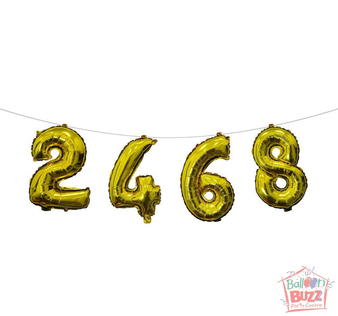 Your Choice of Air-Filled 16-inch Gold Foil Numbers