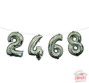 Your Choice of Air-Filled 16-inch Silver Foil Numbers