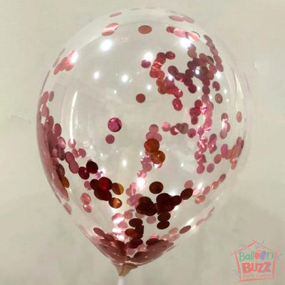 12-inch Helium-Filled + Rose Gold Confetti