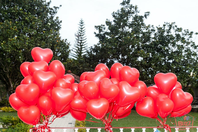 Bunch of 10 Red Heart-Shaped Helium-Filled Latex Balloons