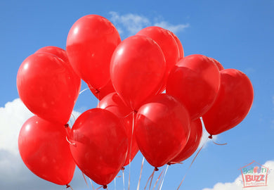 Bunch of 10 Red Helium-Filled Latex Balloons