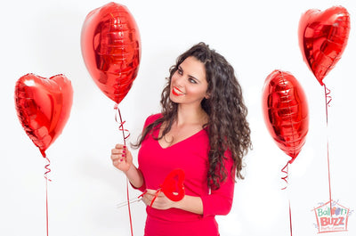Bouquet of 4 Heart-Shaped Helium-Filled Foil Balloons
