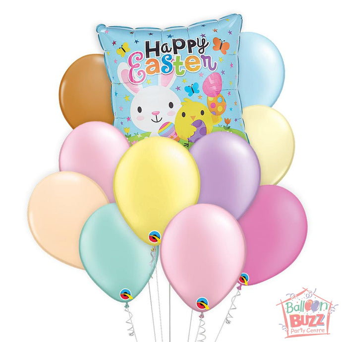 Balloon Bouquet - Bunny and Chick 17-inch Helium-Filled Foil + 10 Pastel Helium-Filled Latex