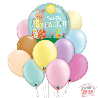 Balloon Bouquet - Bunny Chicks Easter 17-inch Helium-Filled Foil + 10 Pastel Helium-Filled Latex