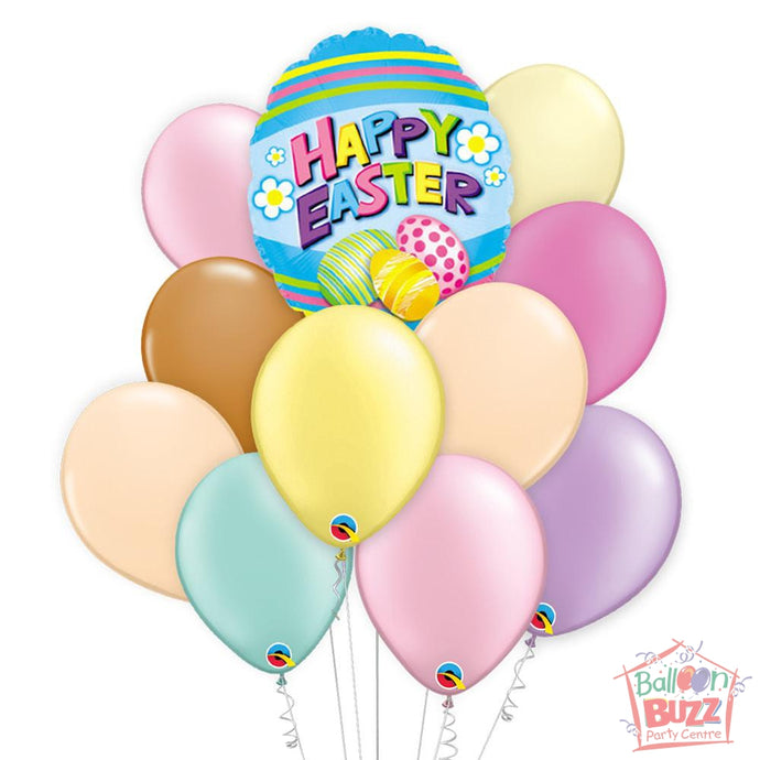 Balloon Bouquet - Easter Egg Shape 18-inch Helium-Filled Foil + 10 Pastel Helium-Filled Latex