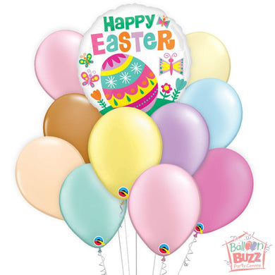 Balloon Bouquet - Big Egg Easter 17-inch Helium-Filled Foil Balloon + 10 Pastel Helium-Filled Latex