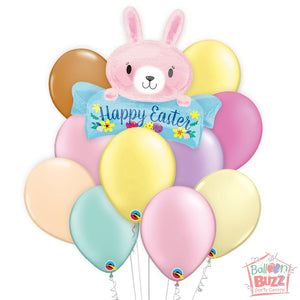 Balloon Bouquet - Pink Bunny Easter 32-inch Helium-Filled Foil + 10 Pastel Helium-Filled Latex