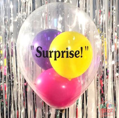 12-Inch Birthday Personalized Transparent Balloons + Message + 3 Mini Balloons + 10 Metallic Helium-Filled Latex Balloons
