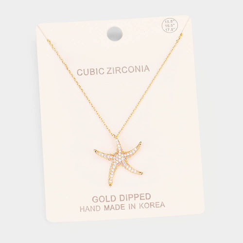 CZ Starfish Necklace, Gold Dipped - Gold with Pave CZ Diamonds