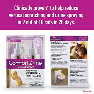 Comfort Zone Feliway Diffuser Refill, 2 Pack, For Cat Calming - 2 Pack