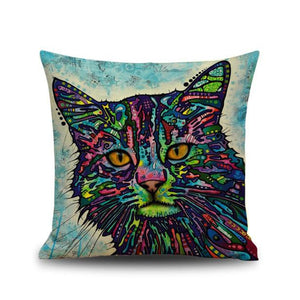 Colorful Cat Printing Dyeing Sofa Bed Home Decor Pillow Case Cushion Cover