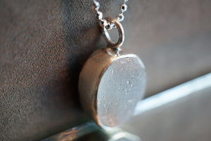 Icy Grey Seaglass Necklace