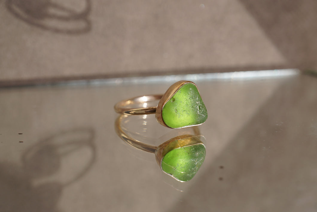 Gold Seaglass Stacking Ring