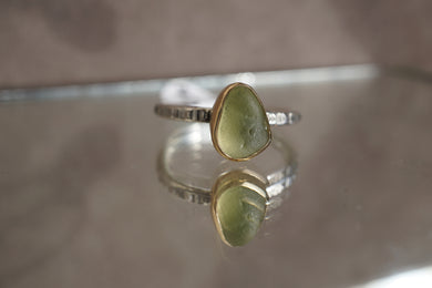 14kt Gold and Sterling Seaglass Ring
