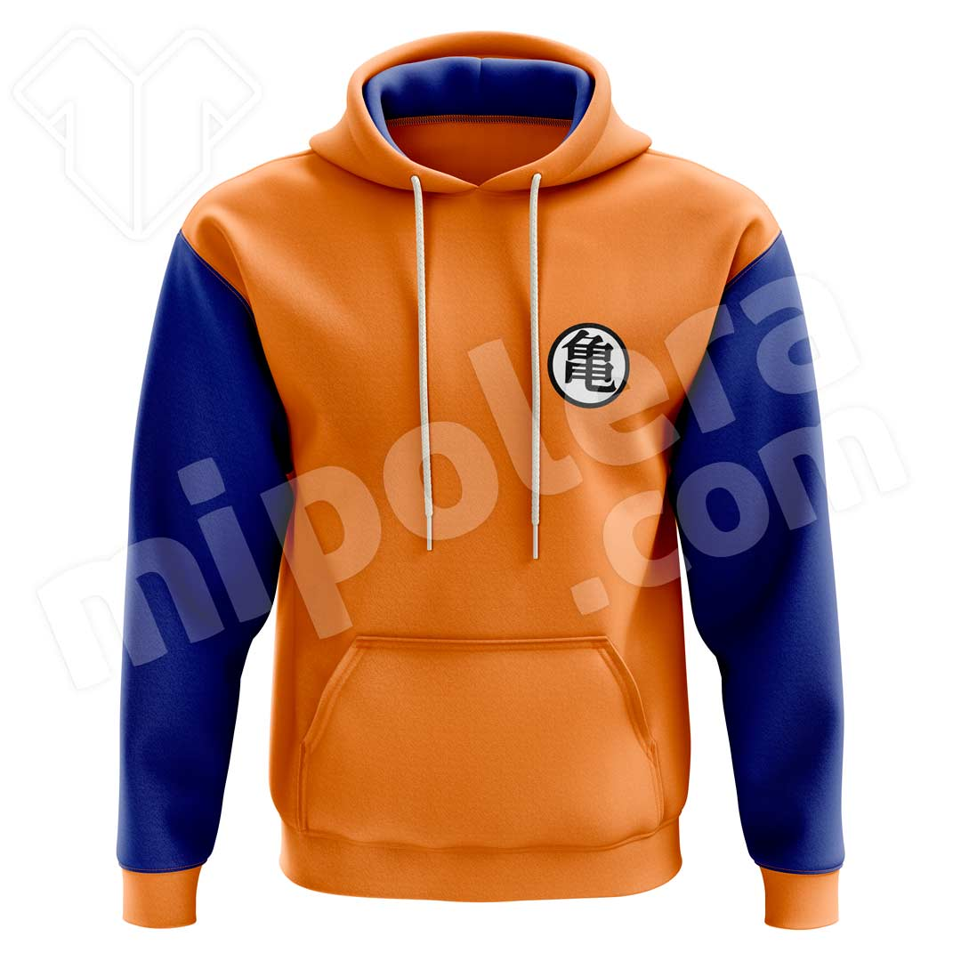 Poleron Estampado Dragon Ball Naranjo y Azul Rey