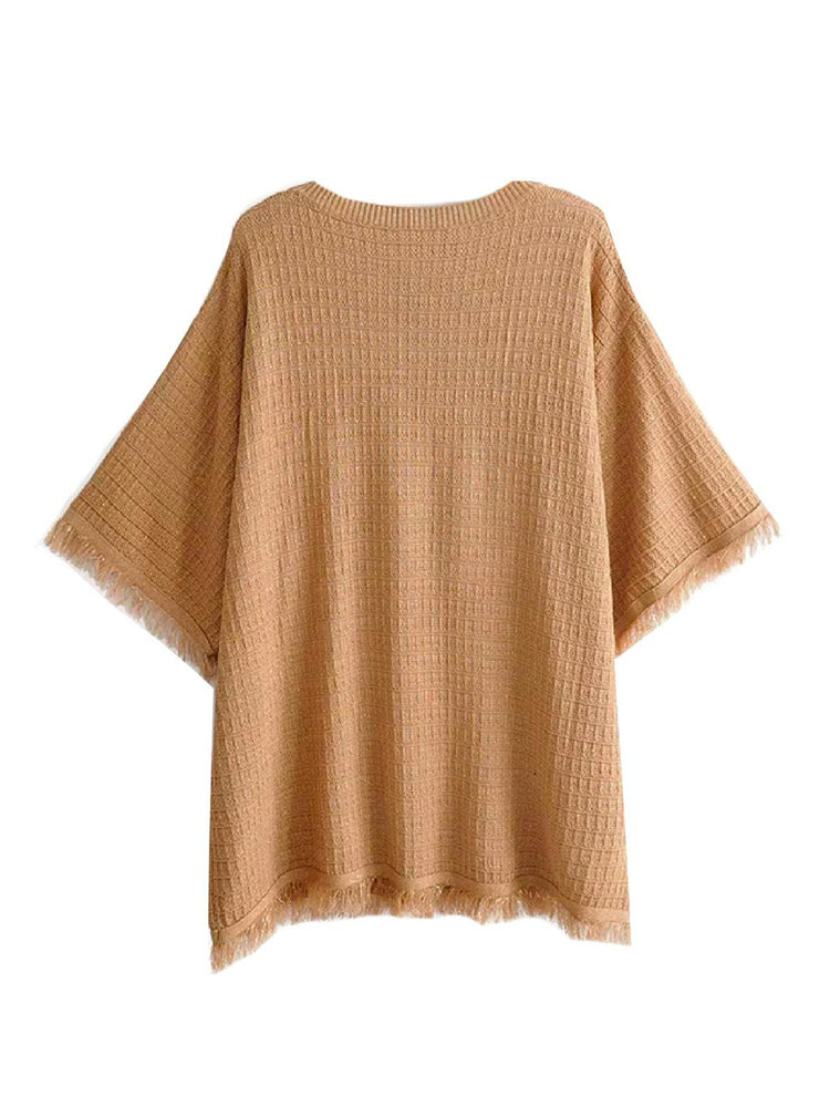 'BELLE' fringed round neck knit top- brown