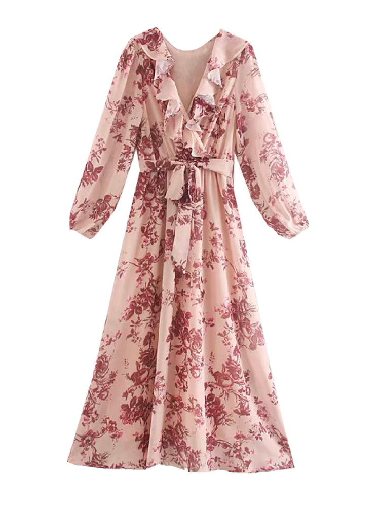 'SHELBY' floral printed ruffled front maxi dress - pink