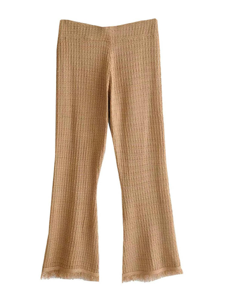 'Bunty' high waist knit pants - brown