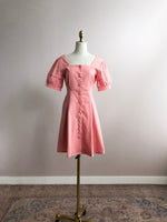 'Kathy' buttoned ruffled sleeve mini dress - pink