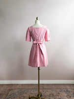 'TEDDY' square-neck belted mini dress - pink